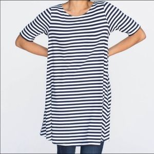 Agnes & Dora Tops - Agnes and Dora navy and white striped swing tunic